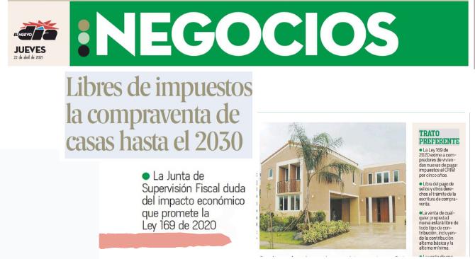 Libre de impuestos la compraventa de casas hasta el 2030