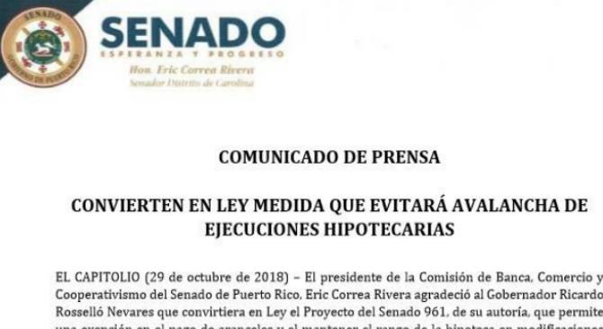 """Comunicado de Prensa """"Convierten en ley medida que evitará avalancha de ejecuciones hipotecarias"""""""