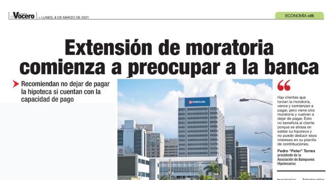 Extensión de moratoria comienza a preocupar a la banca