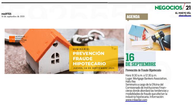 Agenda: 16 de septiembre de 2021- Prevención de Fraude Hipotecario
